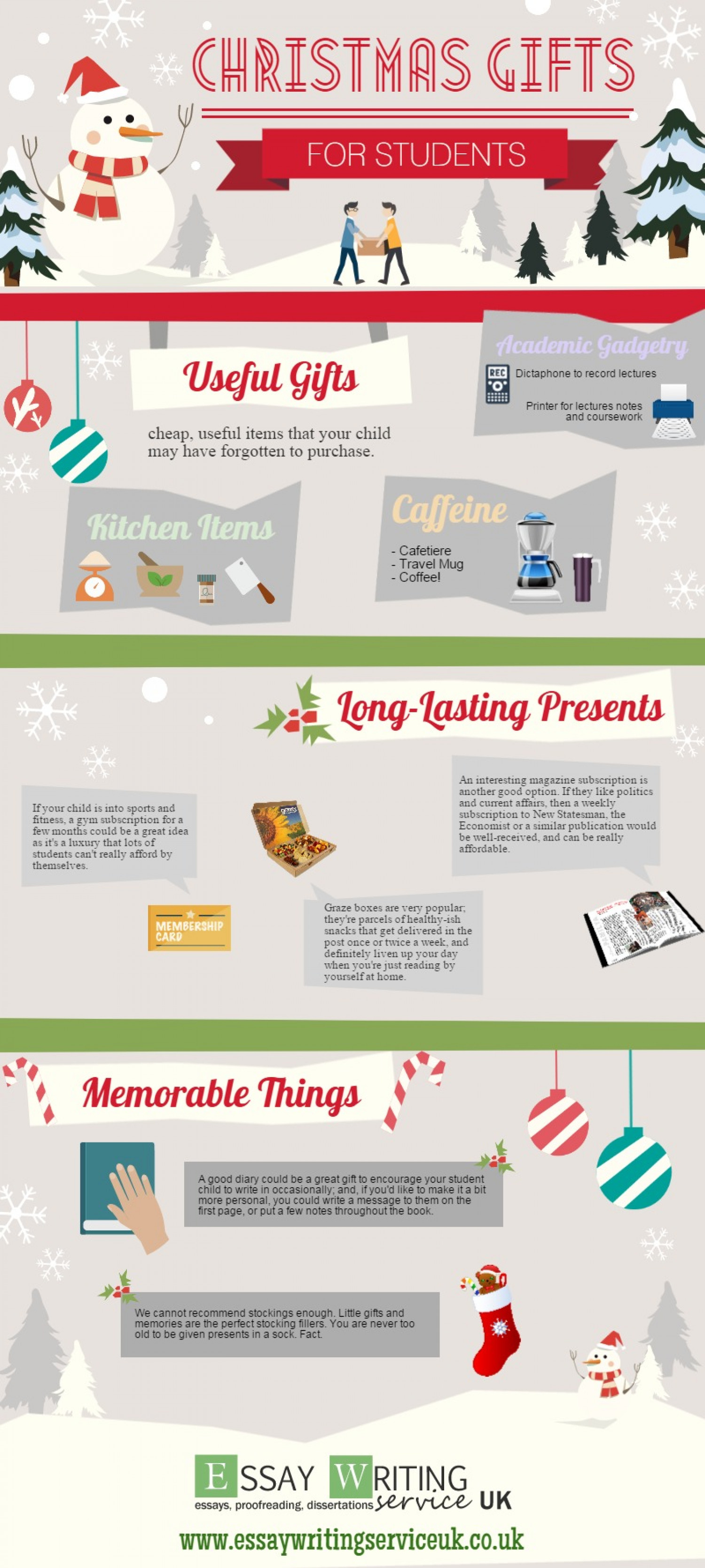 Christmas Gift Ideas For Students Infographic
