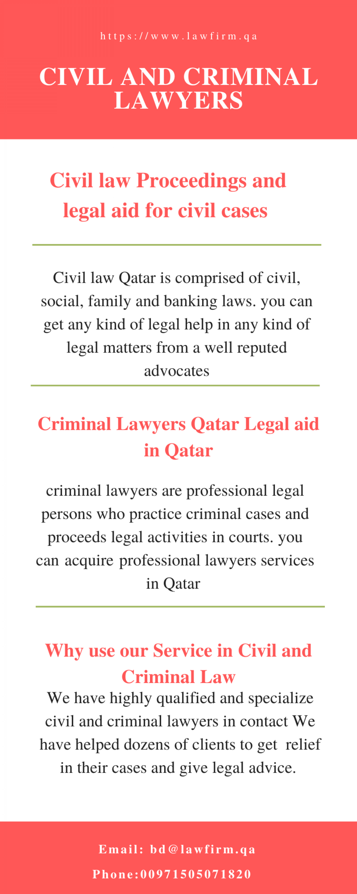 Civil and Criminal Lawyers Qatar Infographic