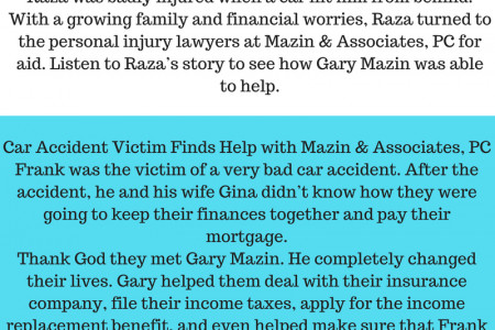 Client Testimonials about Personal Injury Lawyer | Mazin Infographic