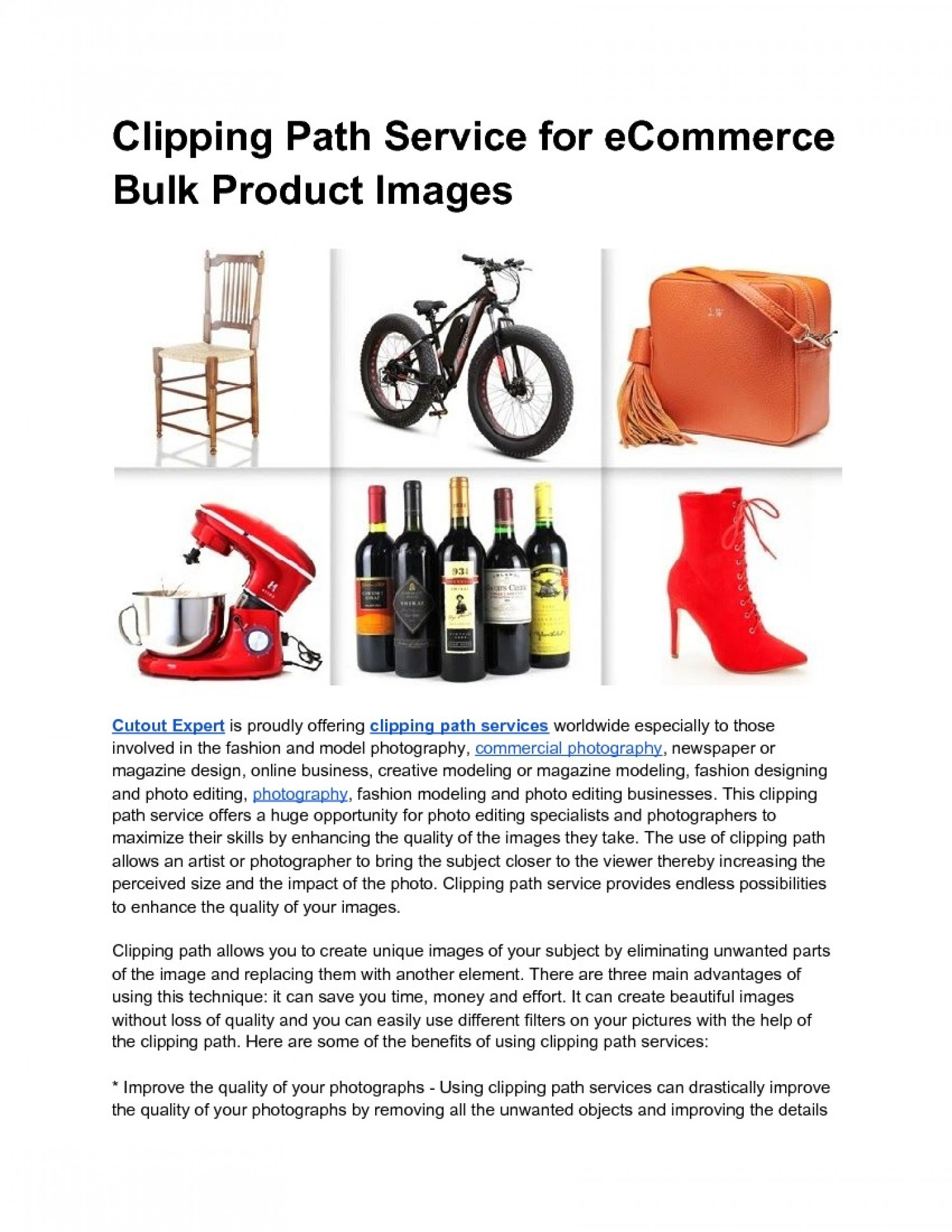 Clipping Path Service for eCommerce Bulk Product Images Infographic