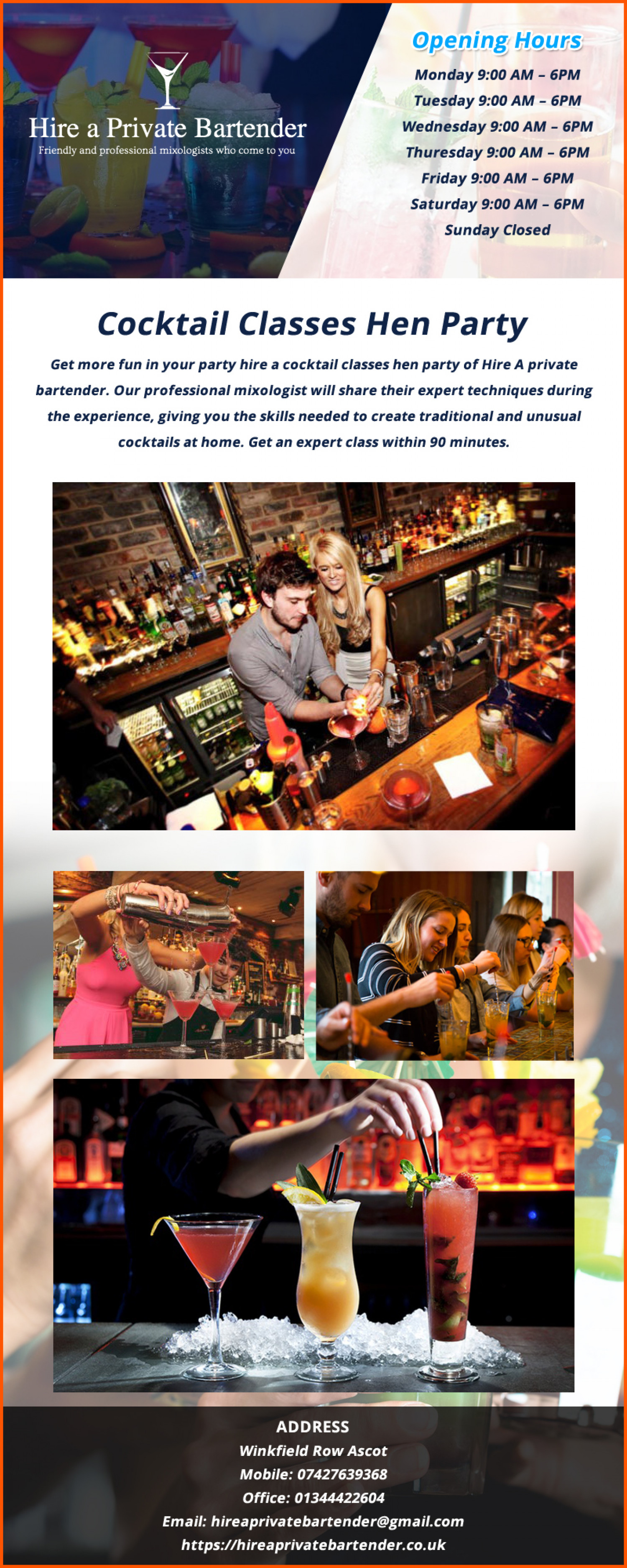 Cocktail Classes Hen Party- Best Service Ever Infographic
