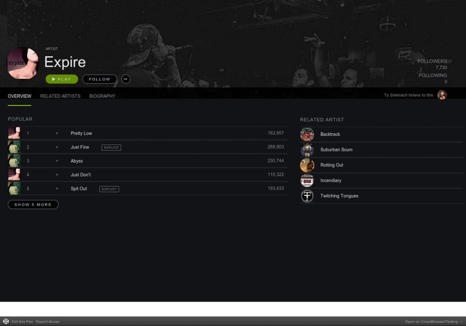 Codepen: Spotify App UI | Visual ly