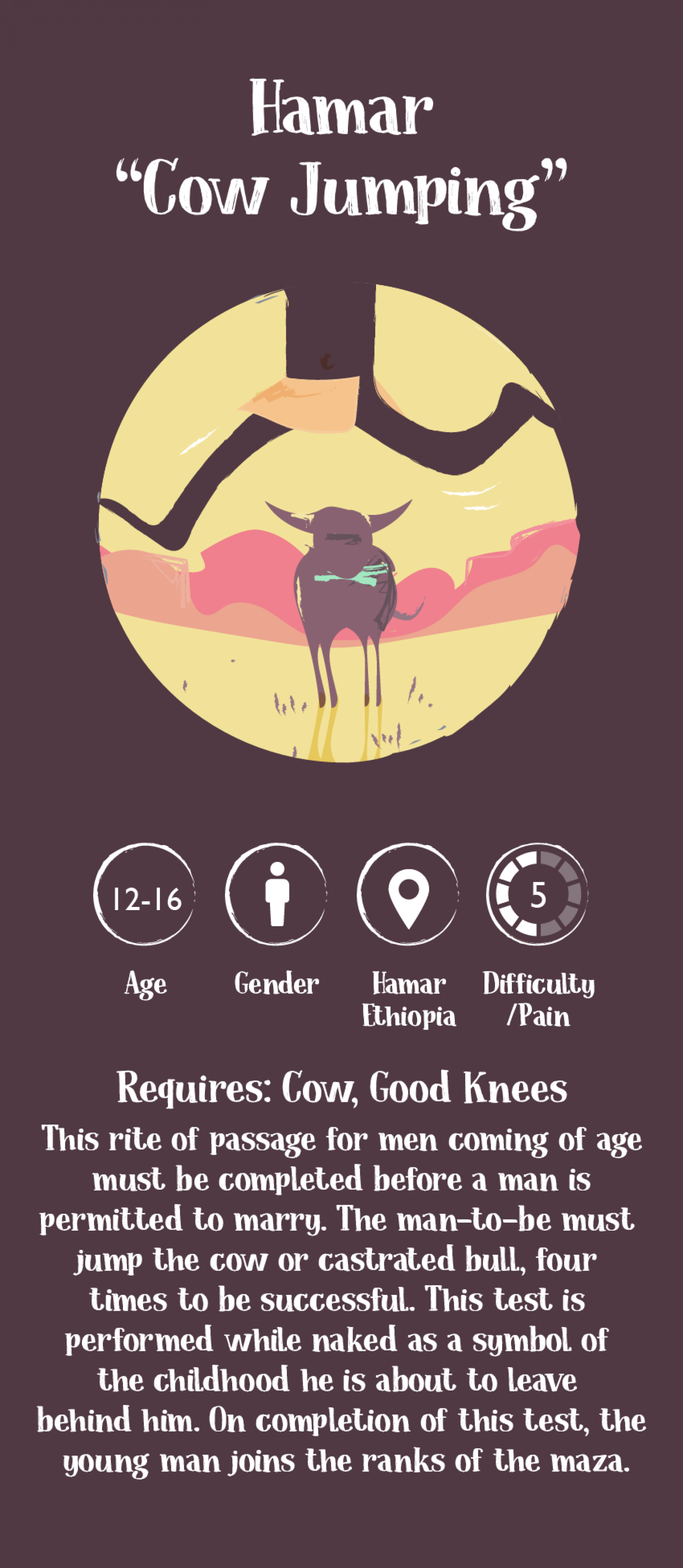Coming of Age Rituals: Hamar Cow Jumping Infographic