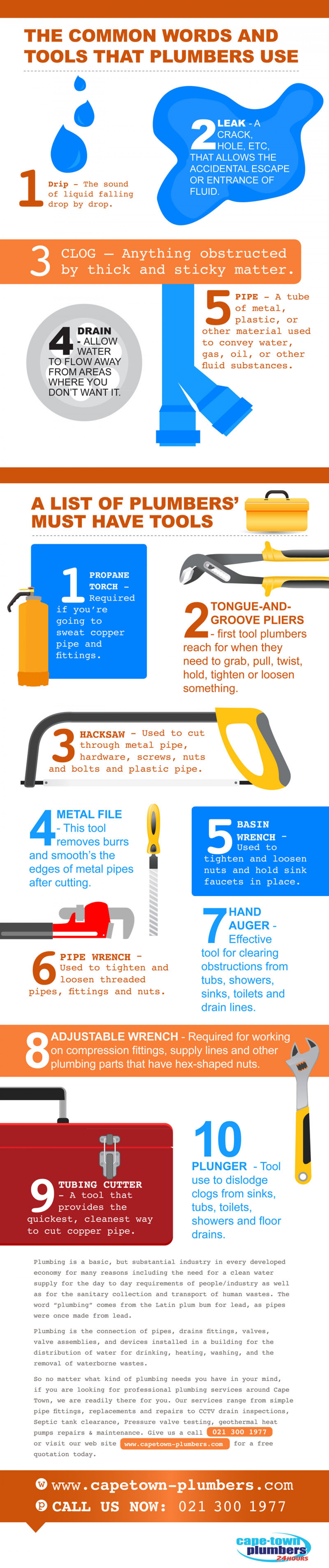 The Common Words and Tools That Plumbers Use Infographic