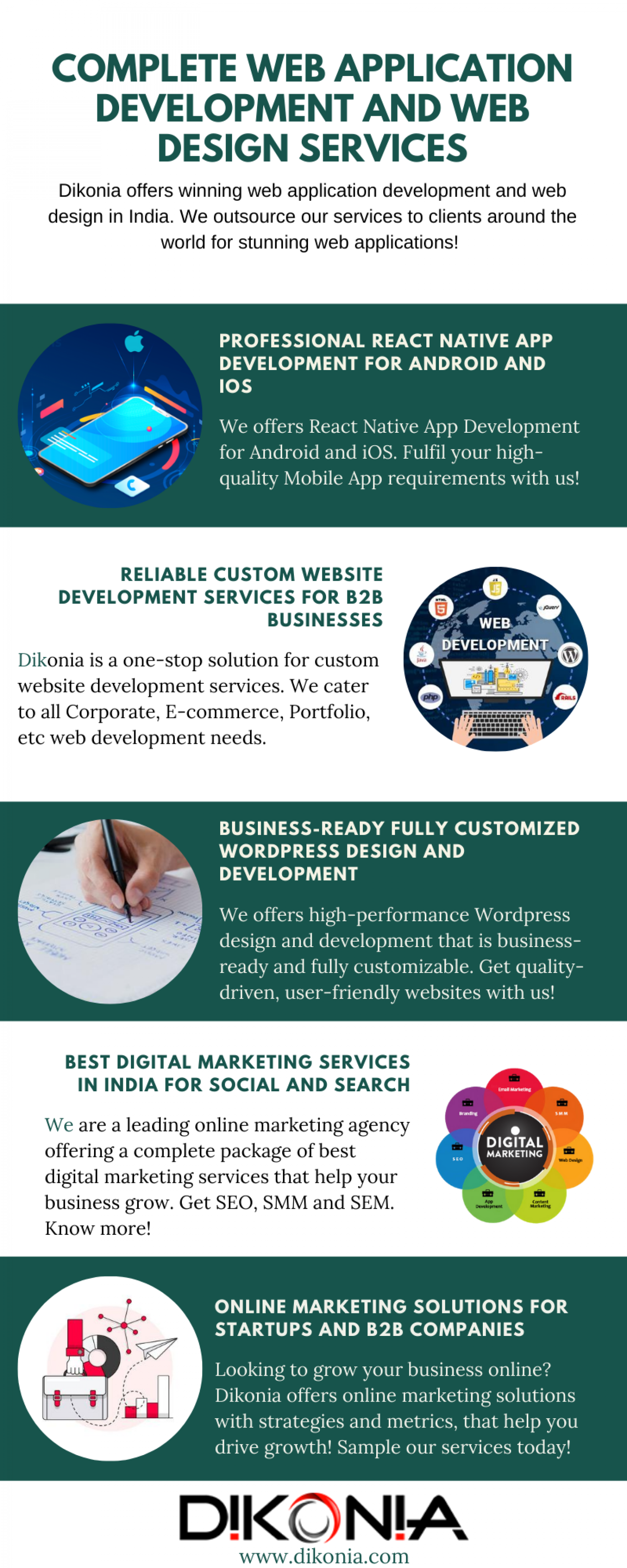 Complete Web Application Development and Web Design Services Infographic