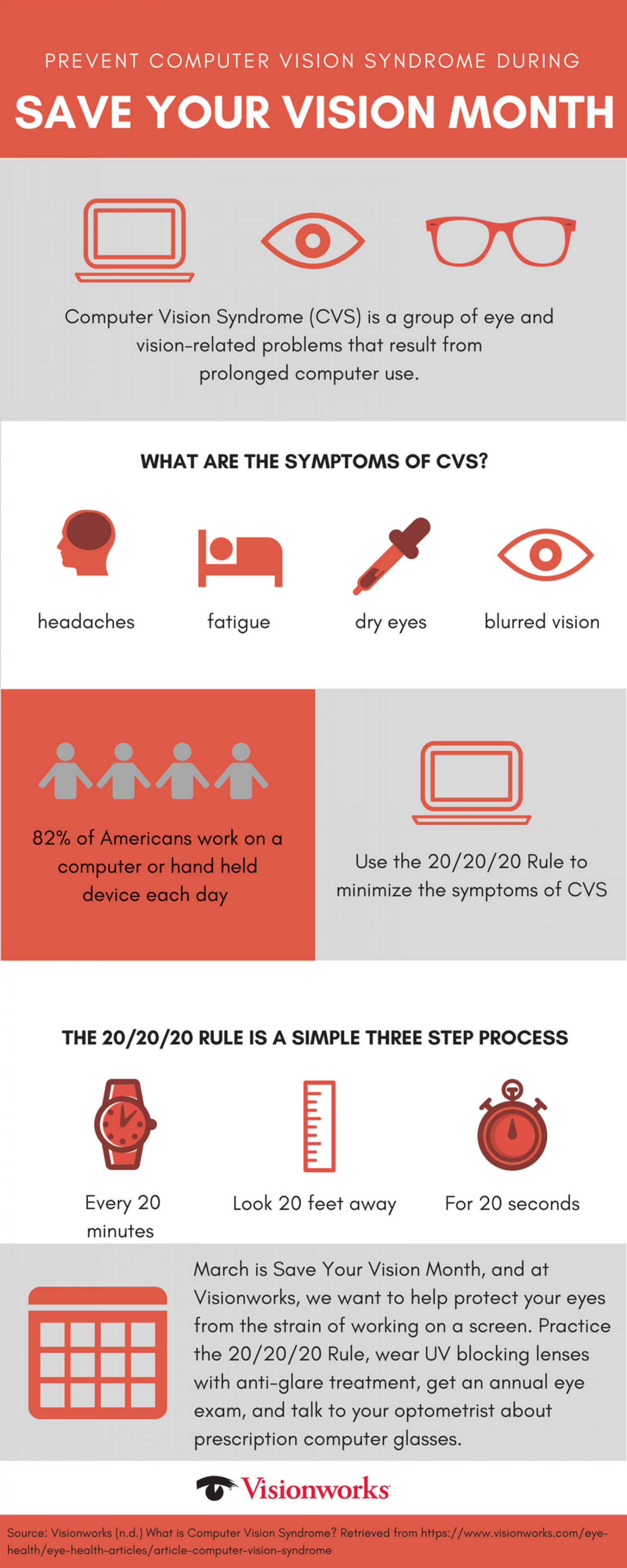 Computer Vision Syndrome - Save Your Vision Month Infographic