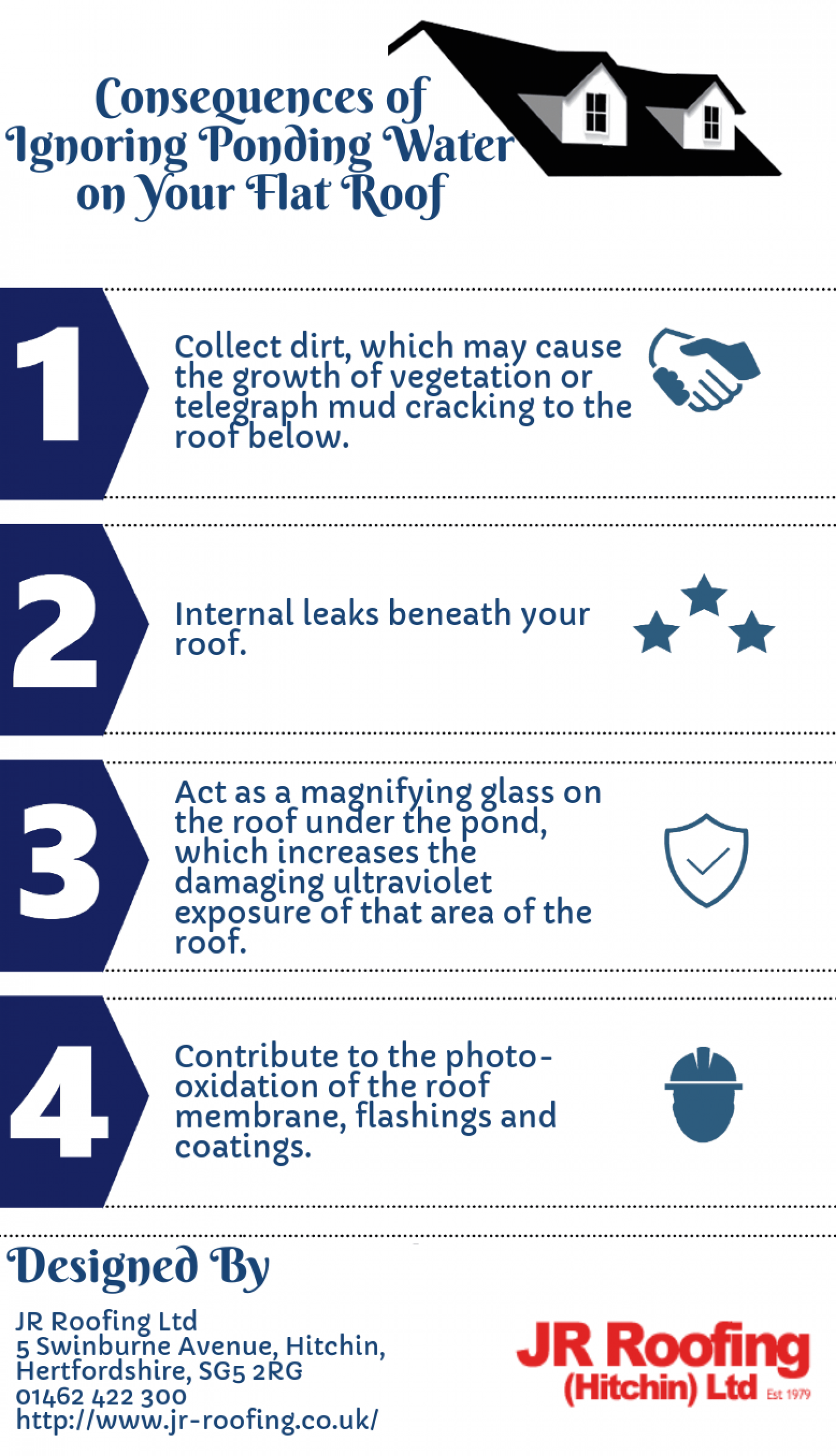 Consequences of Ignoring Ponding Water on Your Flat Roof Infographic