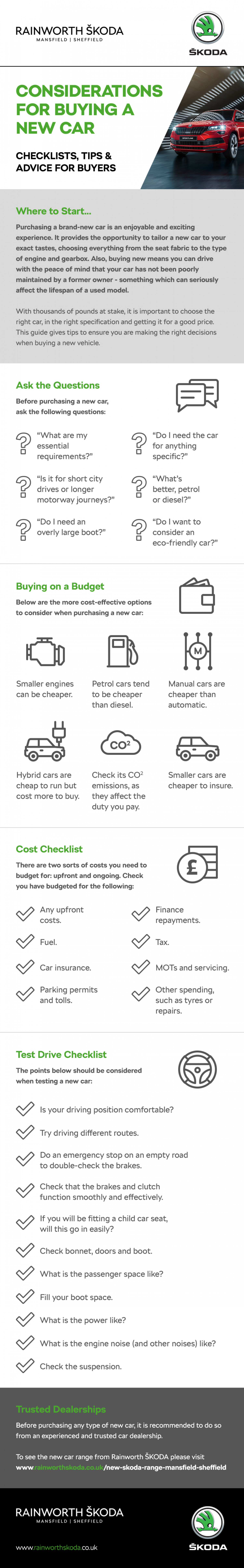 Considerations for Buying a New Car Infographic