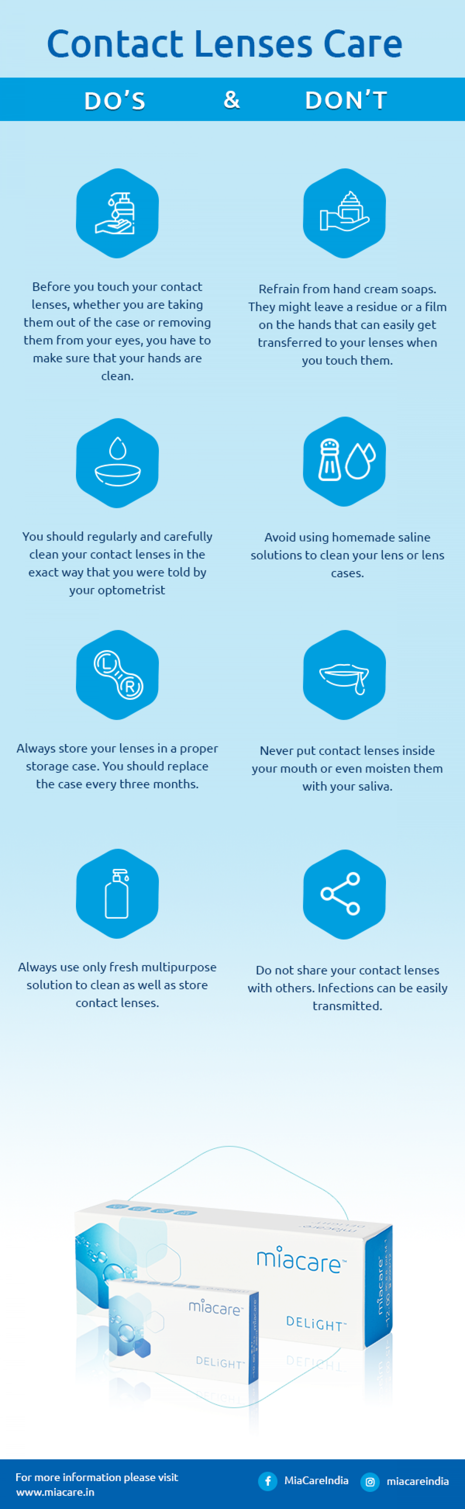 Contact Lenses Care: Do's and Don'ts Infographic