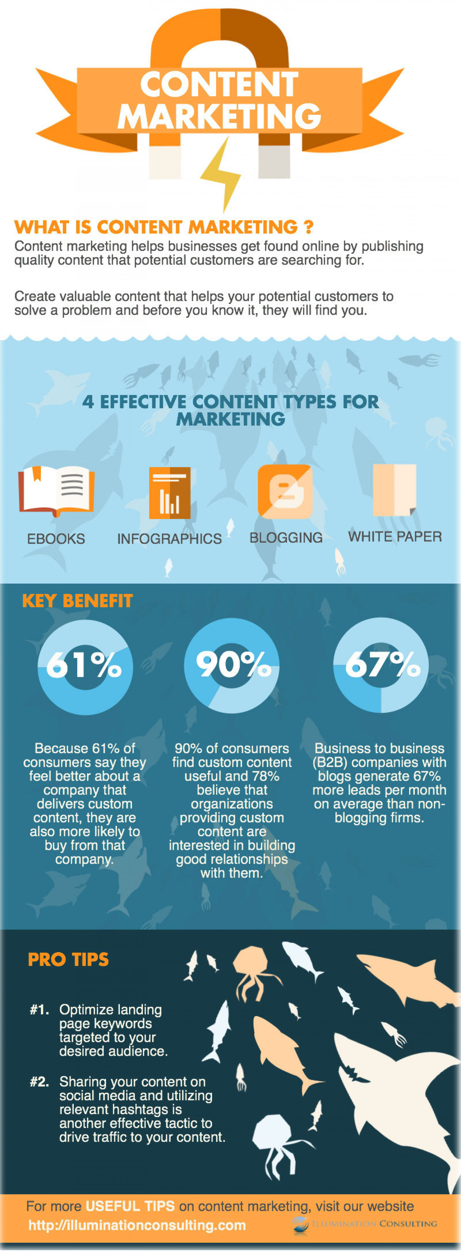 Content Marketing Types And Benefits By Illumination Consulting Infographic