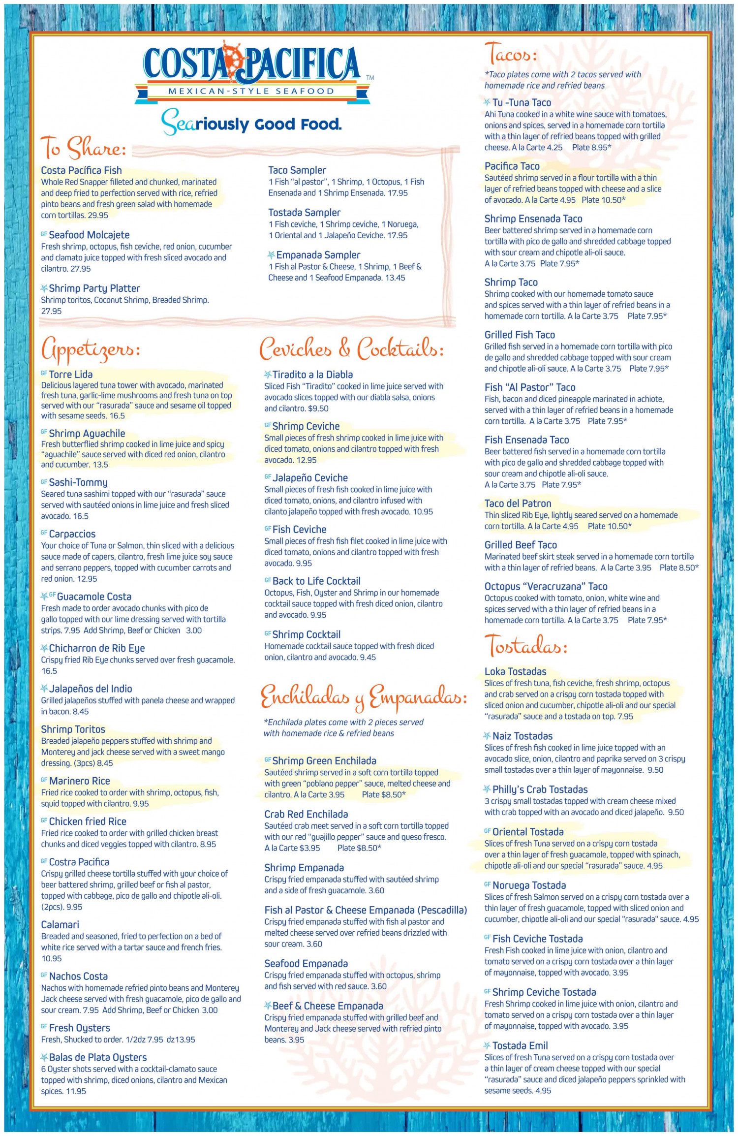 Costa Pacifica Menu   Infographic