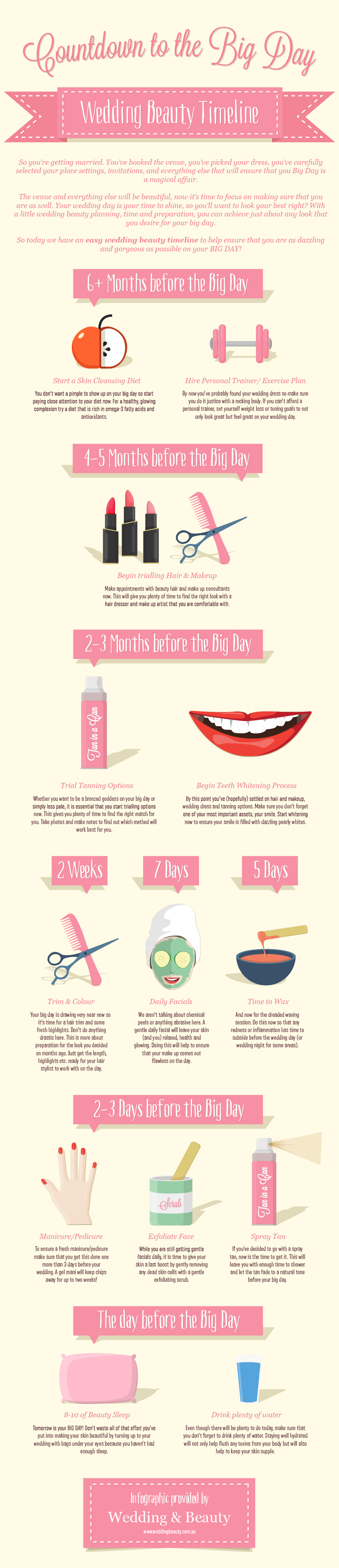 countdown to the big day! – wedding beauty timeline | visual.ly