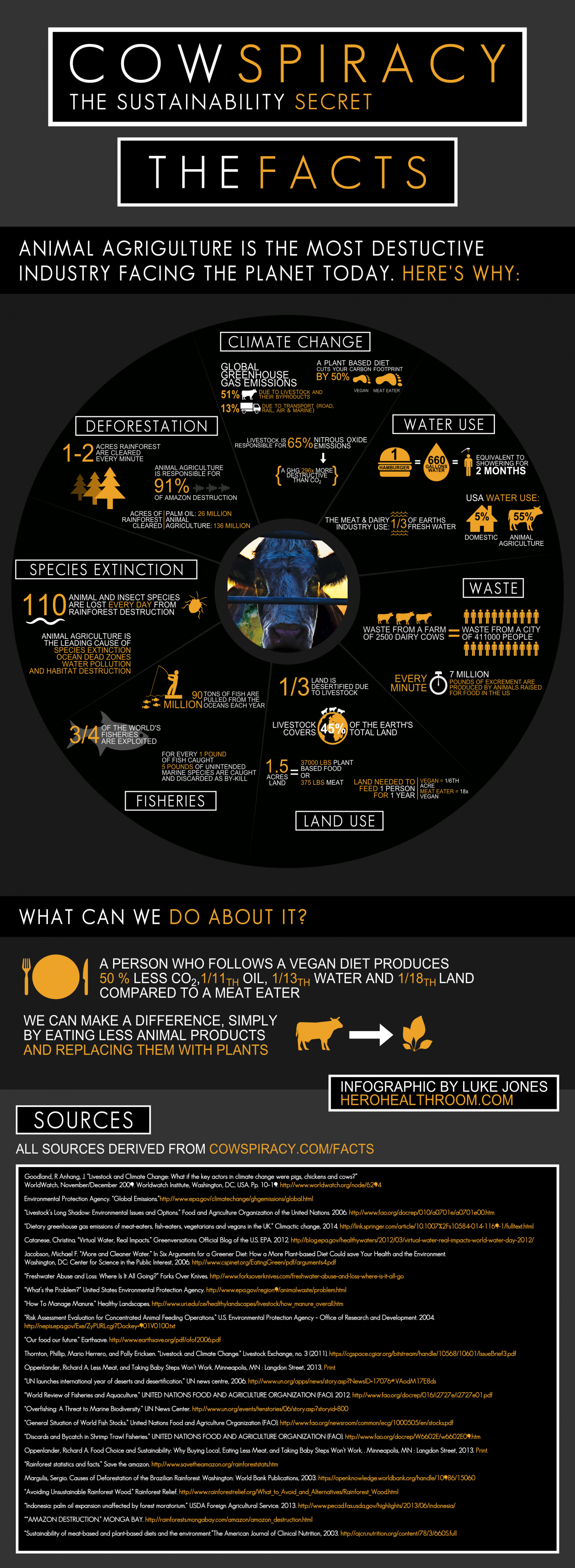Cowspiracy Infographic: Why Animal Agriculture Is the Most Destructive Industry Facing the Planet Today  Infographic