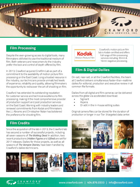 Crawford Motion Picture Film Lab Credits Infographic