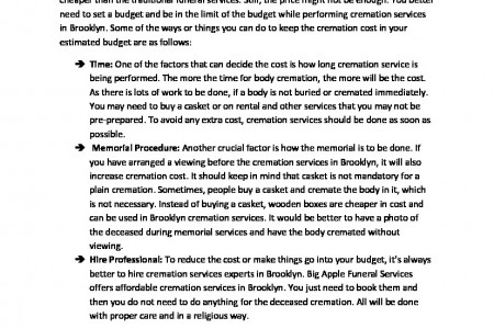 Cremation Services Brooklyn – Things to Do for A Low Cost Cremation Infographic