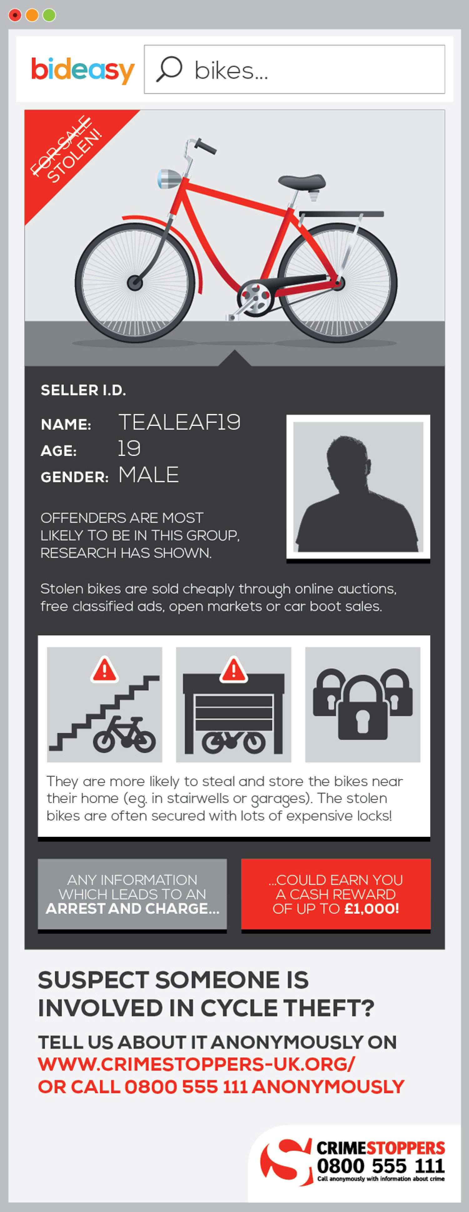 Crimestoppers Cycle Theft Infographic