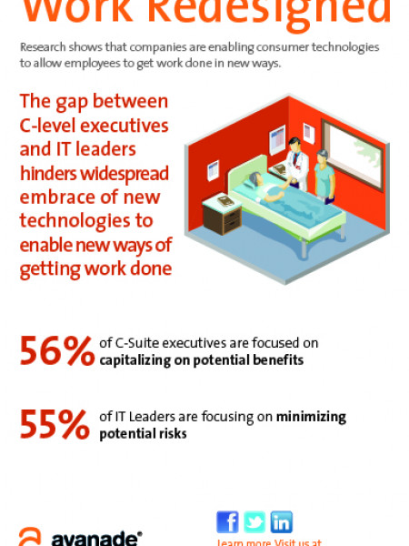 C-Suite Execs and IT Leaders Don't Embrace Consumer  Technologies Equally Infographic