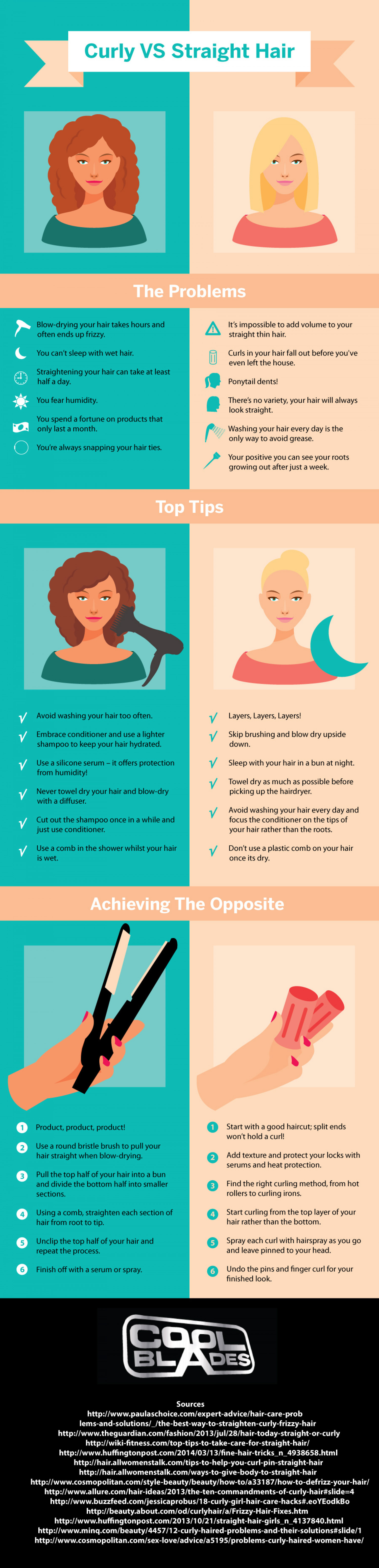 Curly VS Straight Hair Infographic