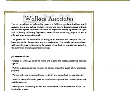 Current Opportunities: Research Director, Information Security Leadership at Wallace Associates Infographic