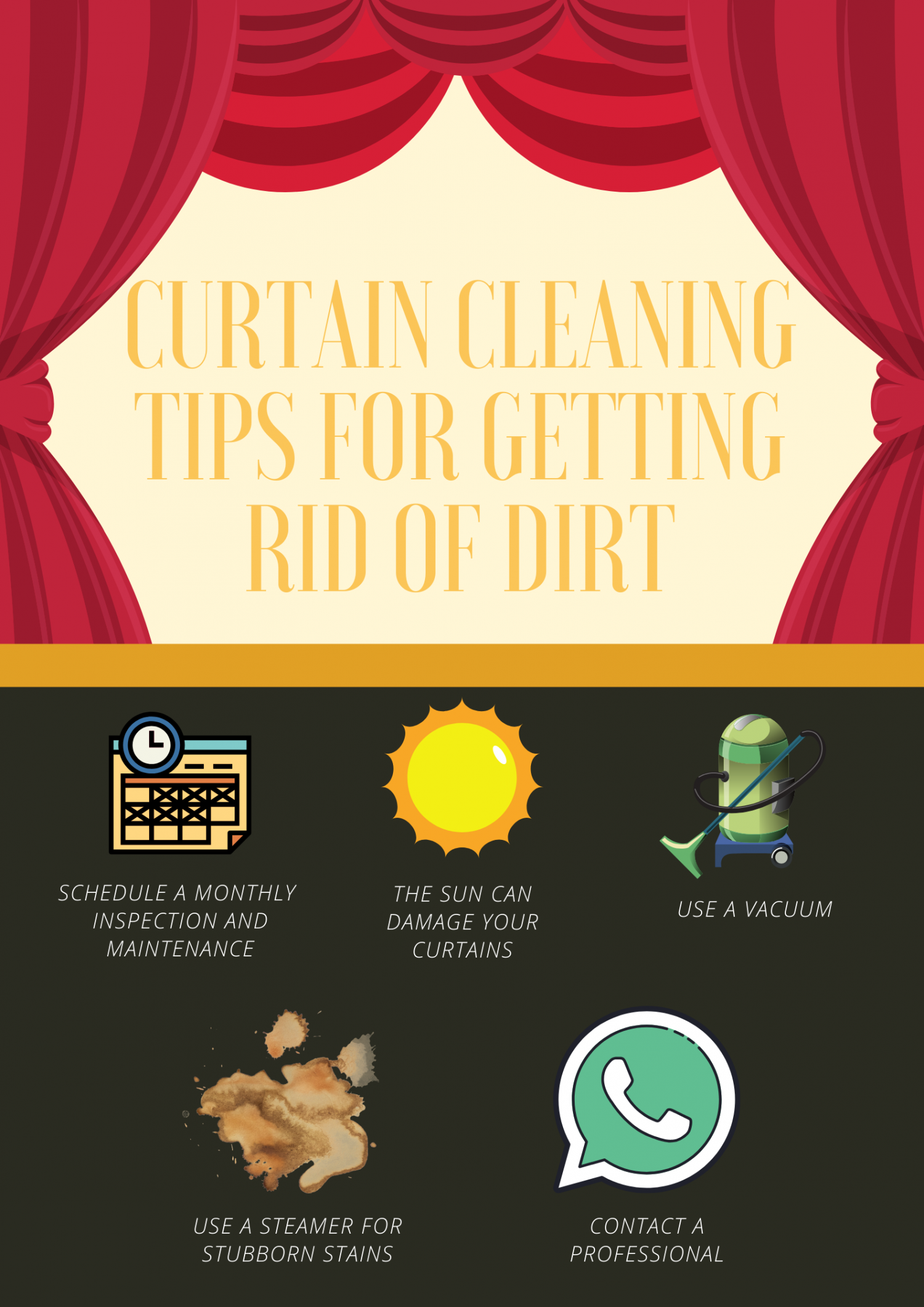 Curtain Cleaning Tips For Getting Rid Of Dirt Infographic