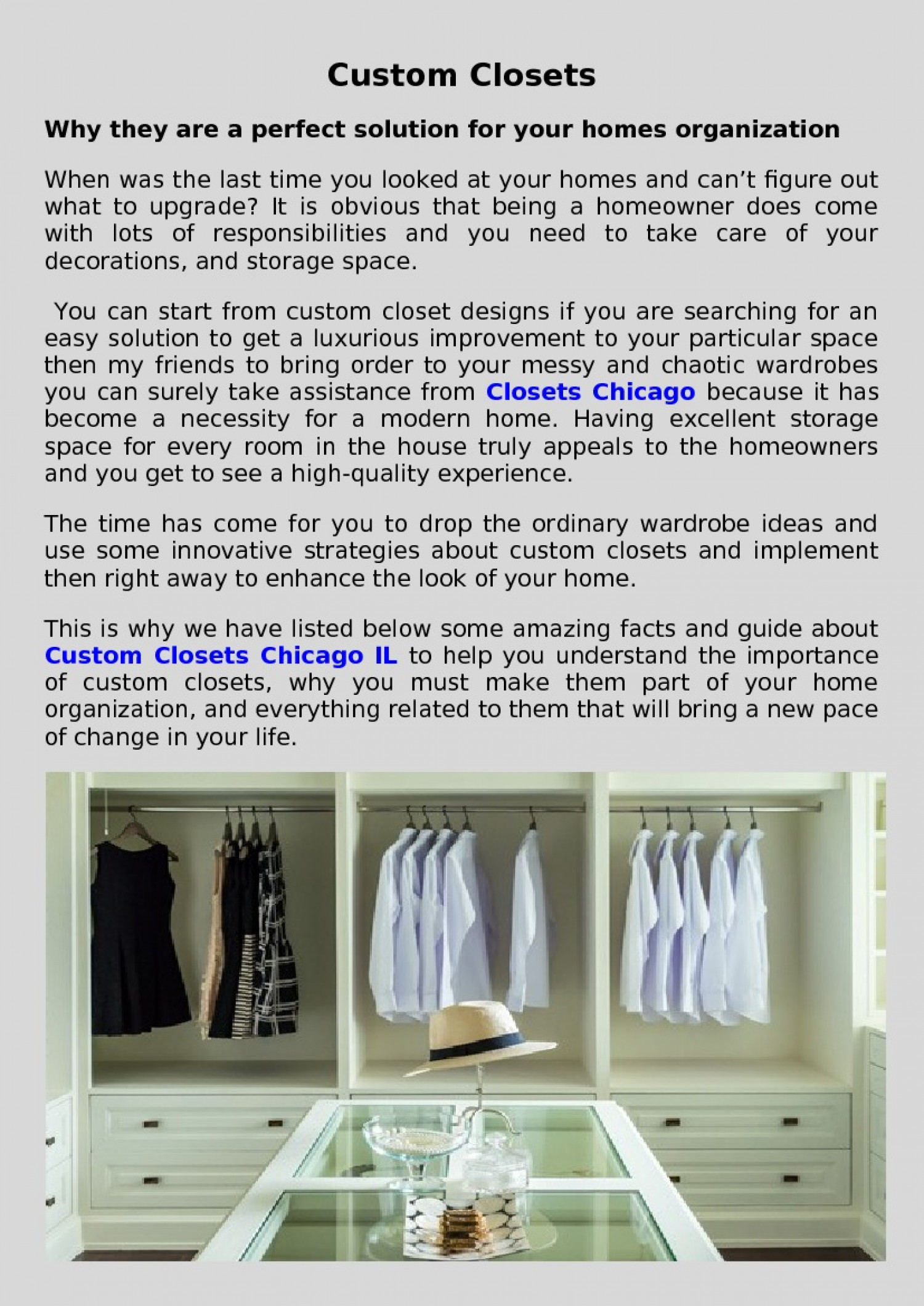 custom closets for your homes organization in chicago Infographic