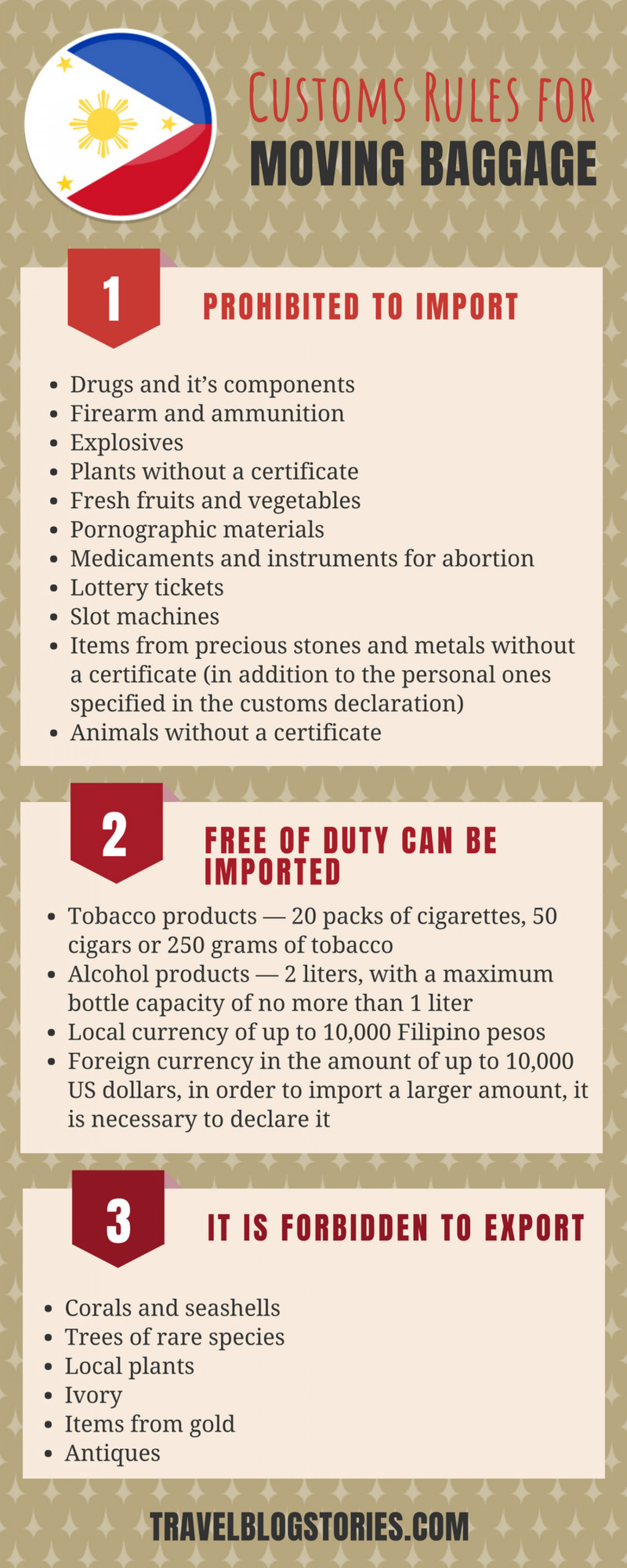 Customs Rules for Moving Baggage | Philippines Infographic