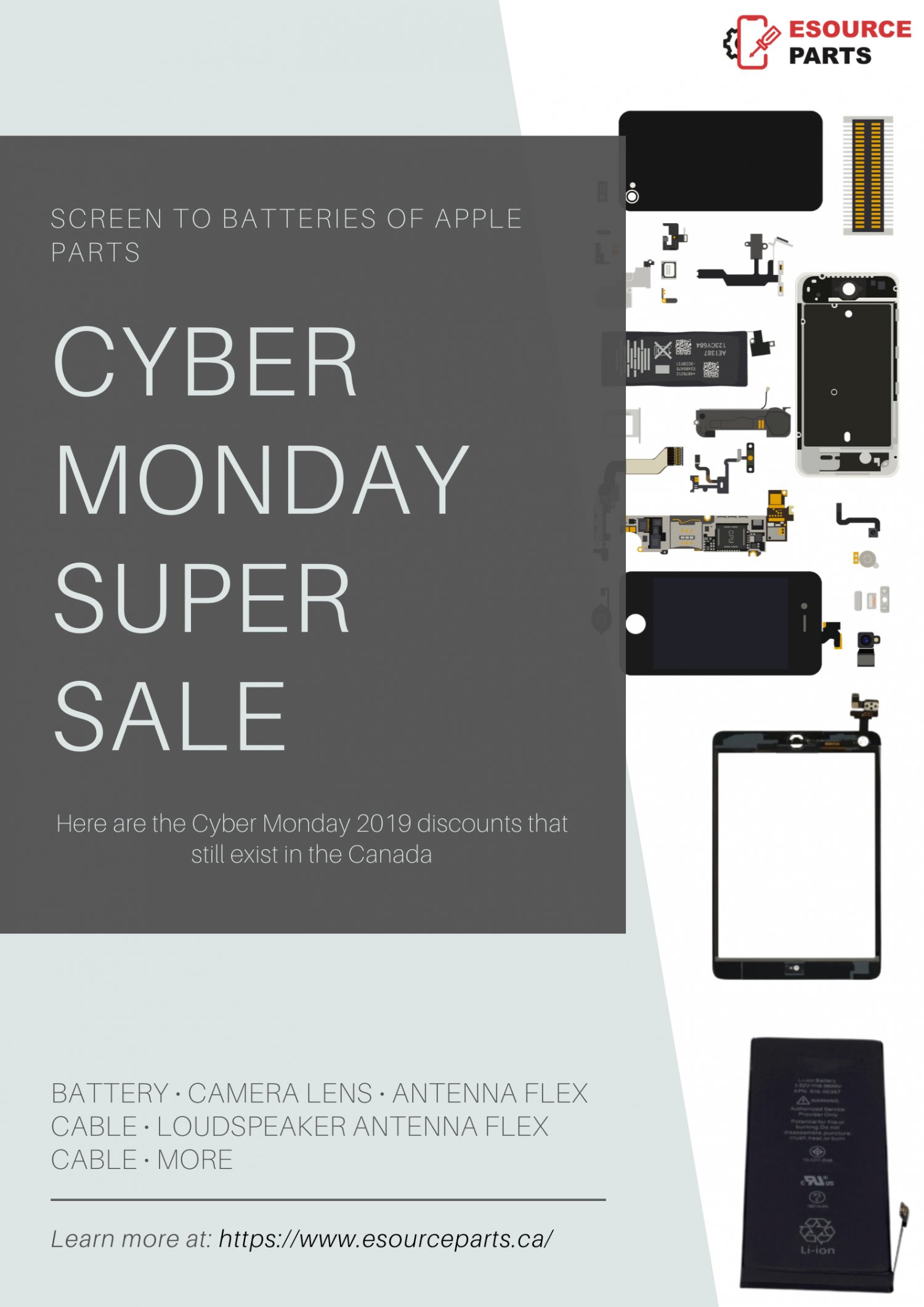 Cyber Monday deals on Apple parts Infographic