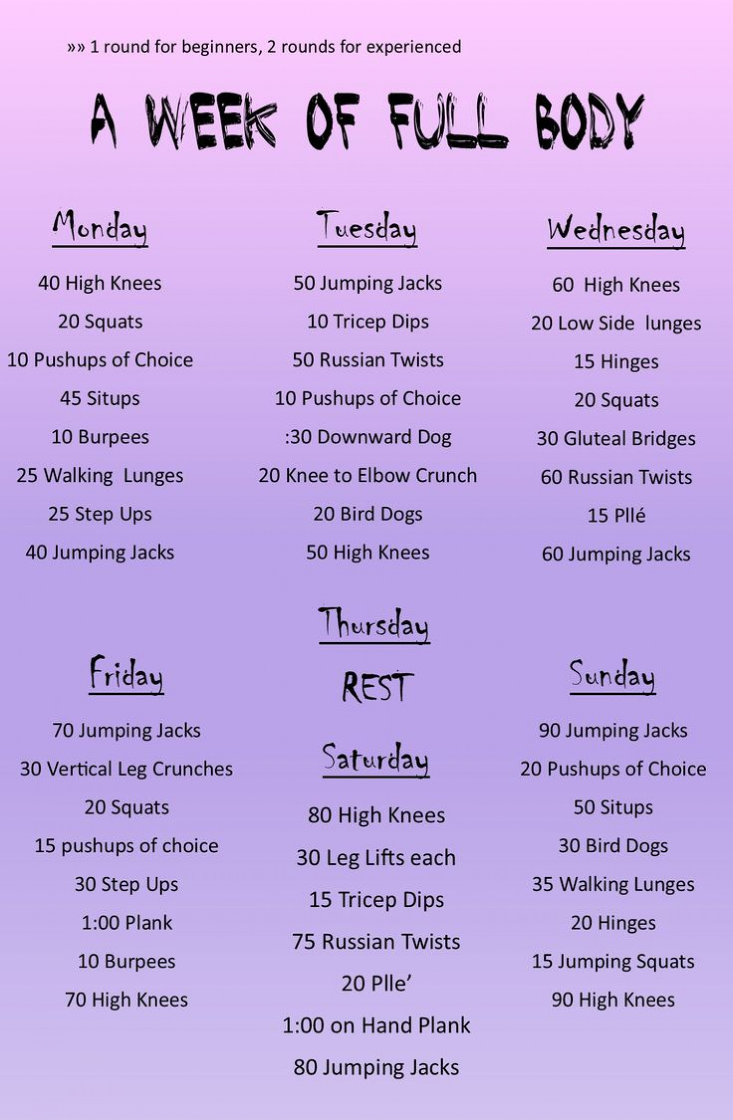 Daily Full body workout | Visual.ly