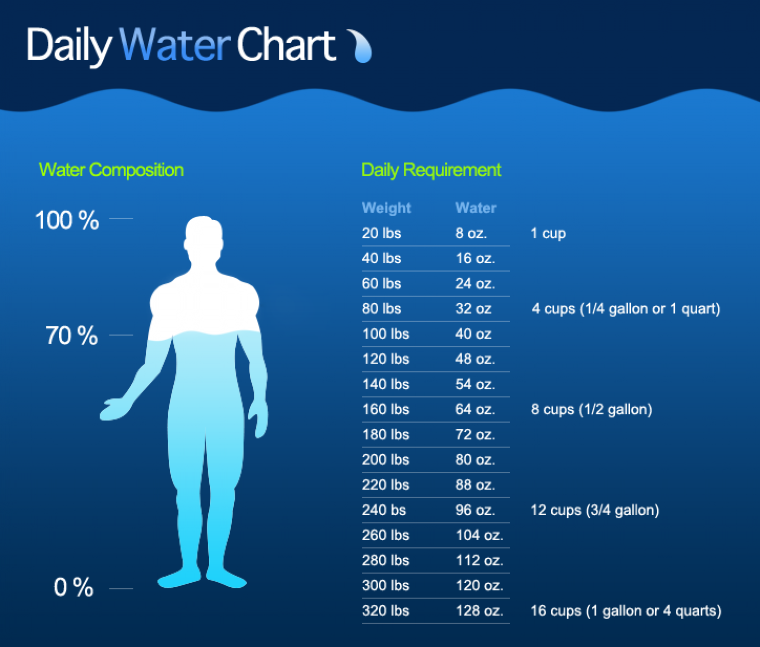 Daily Water chart Infographic