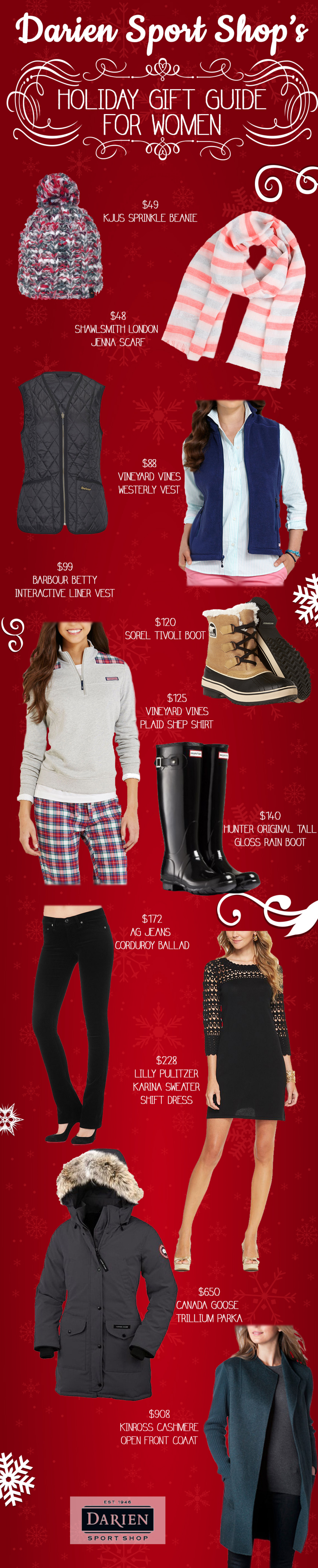Darien Sport Shop's Holiday Gift Guide for Women Infographic
