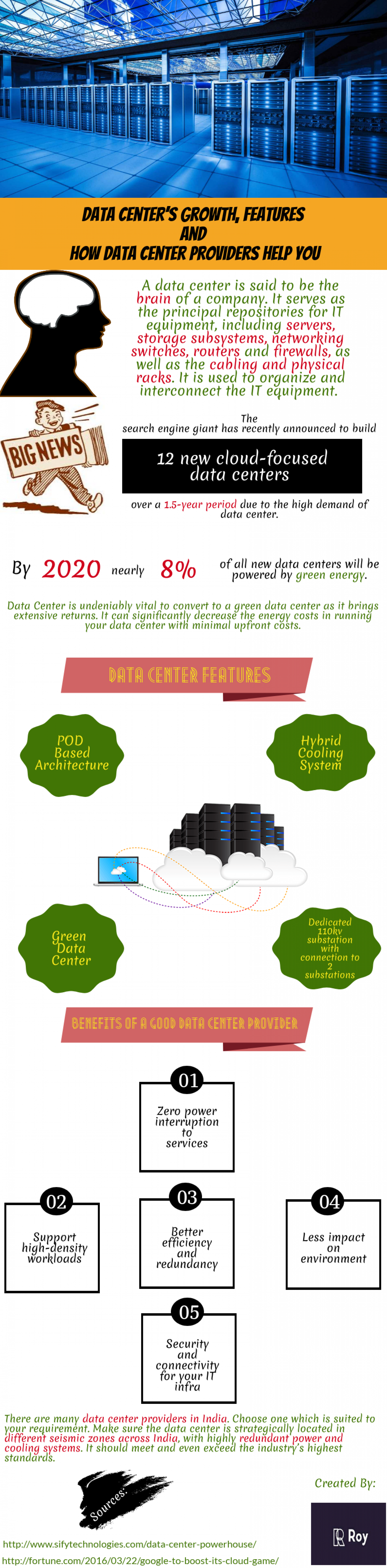 Data Center's Growth, Features and How Data Center Providers Help You Infographic