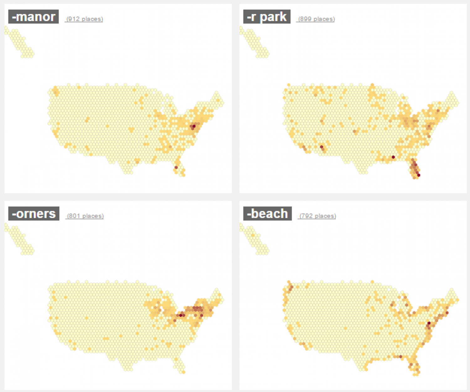 Density of populated places with common suffixes in U.S. Infographic