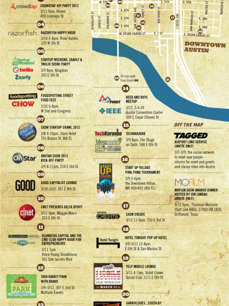 Designed To Party: SXSW 2012 Good Time Guide  Infographic