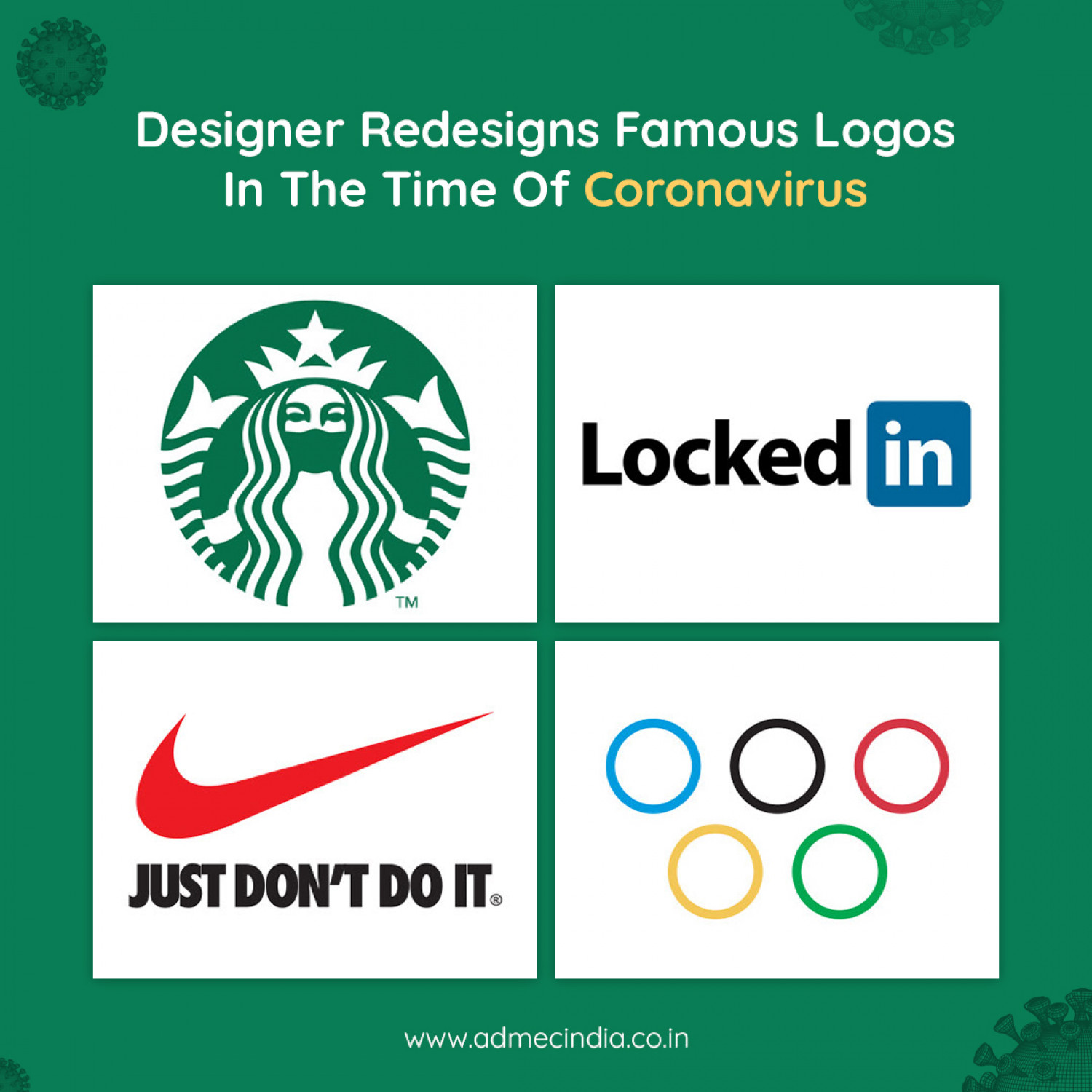 Designers redesign famous logos In the time of coronavirus Infographic