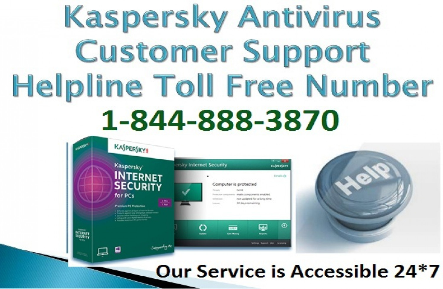 Dial Kaspersky Antivirus Customer Support Number 1-844-888-3870 for Sufficient Services Infographic