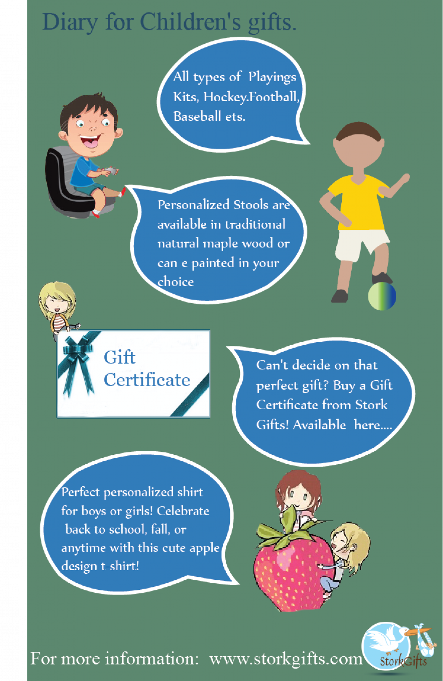 Diary for Children Gifts. Infographic