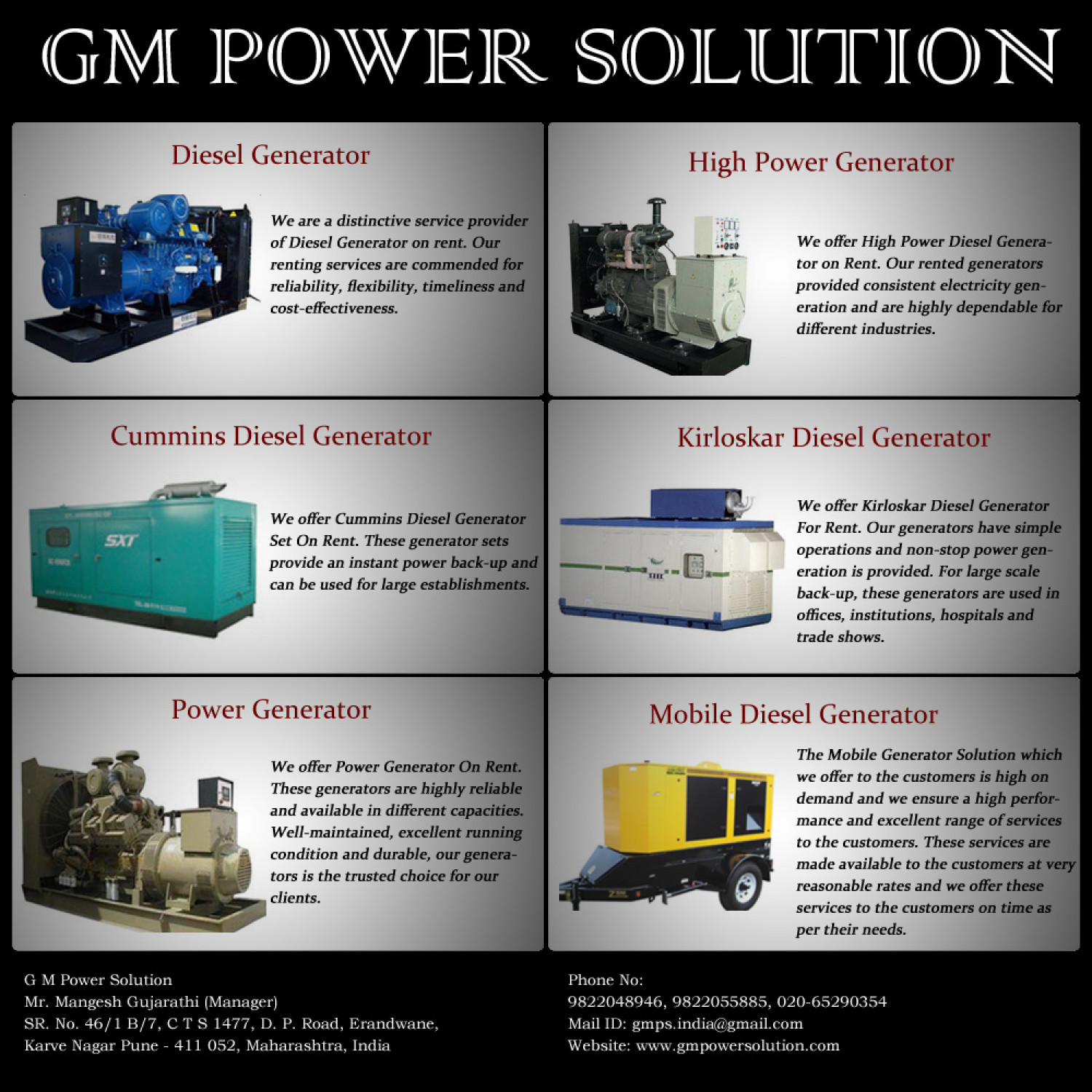 Diesel Generator Rental Services Pune, Maharashtra Infographic