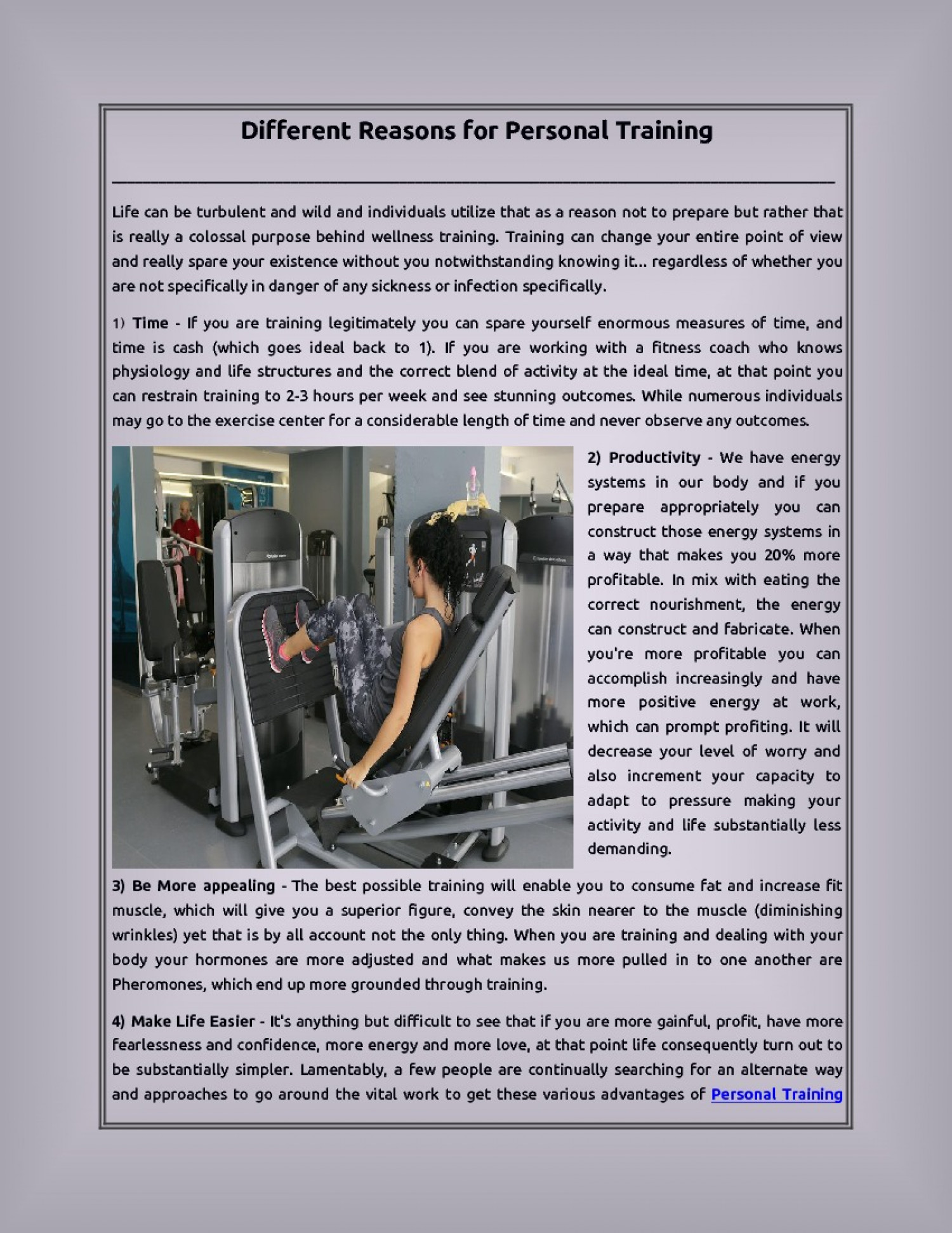 Different Reasons for Personal Training Infographic