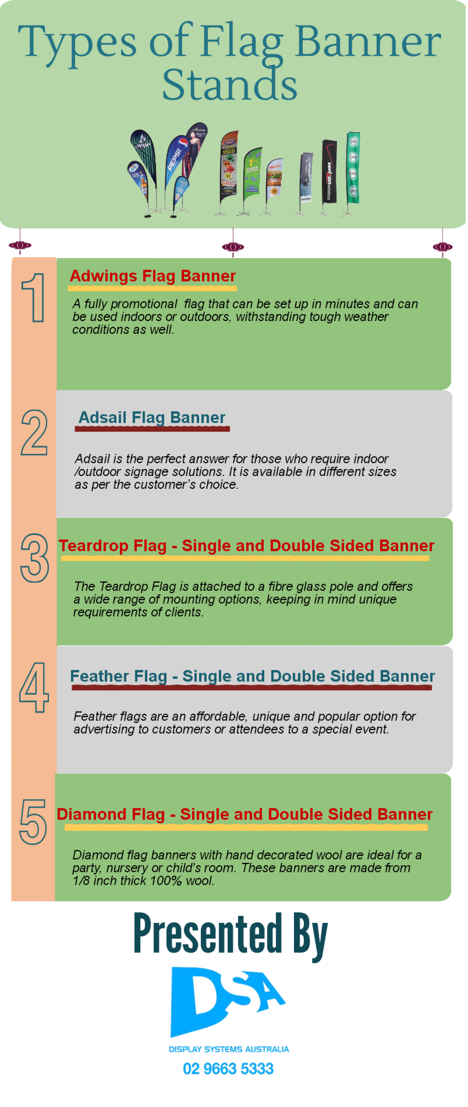 different types of flag banners visual ly