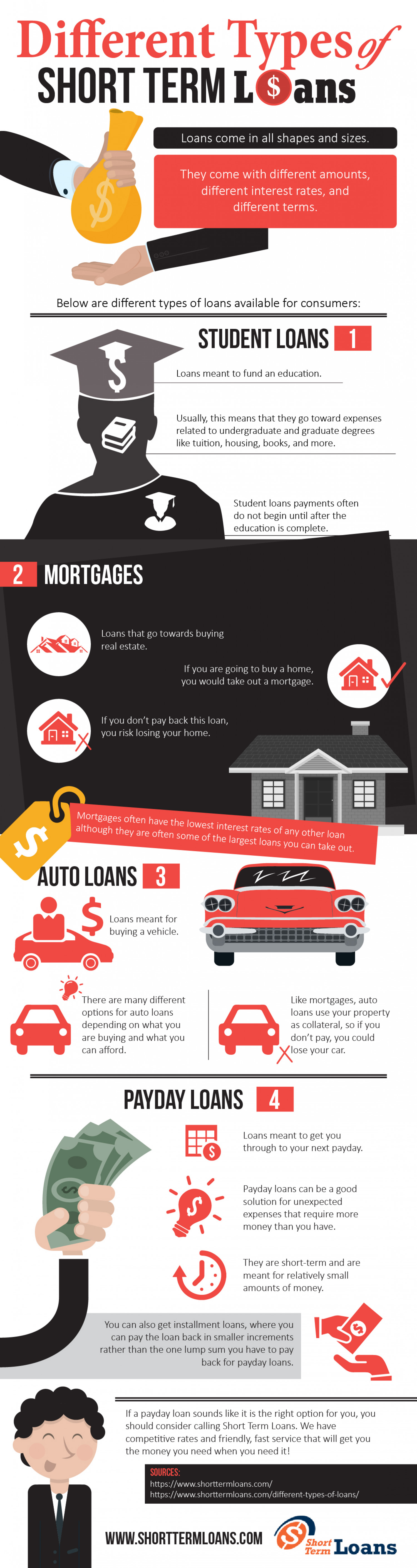 Different Types of Short Term Loans - Infographic Infographic