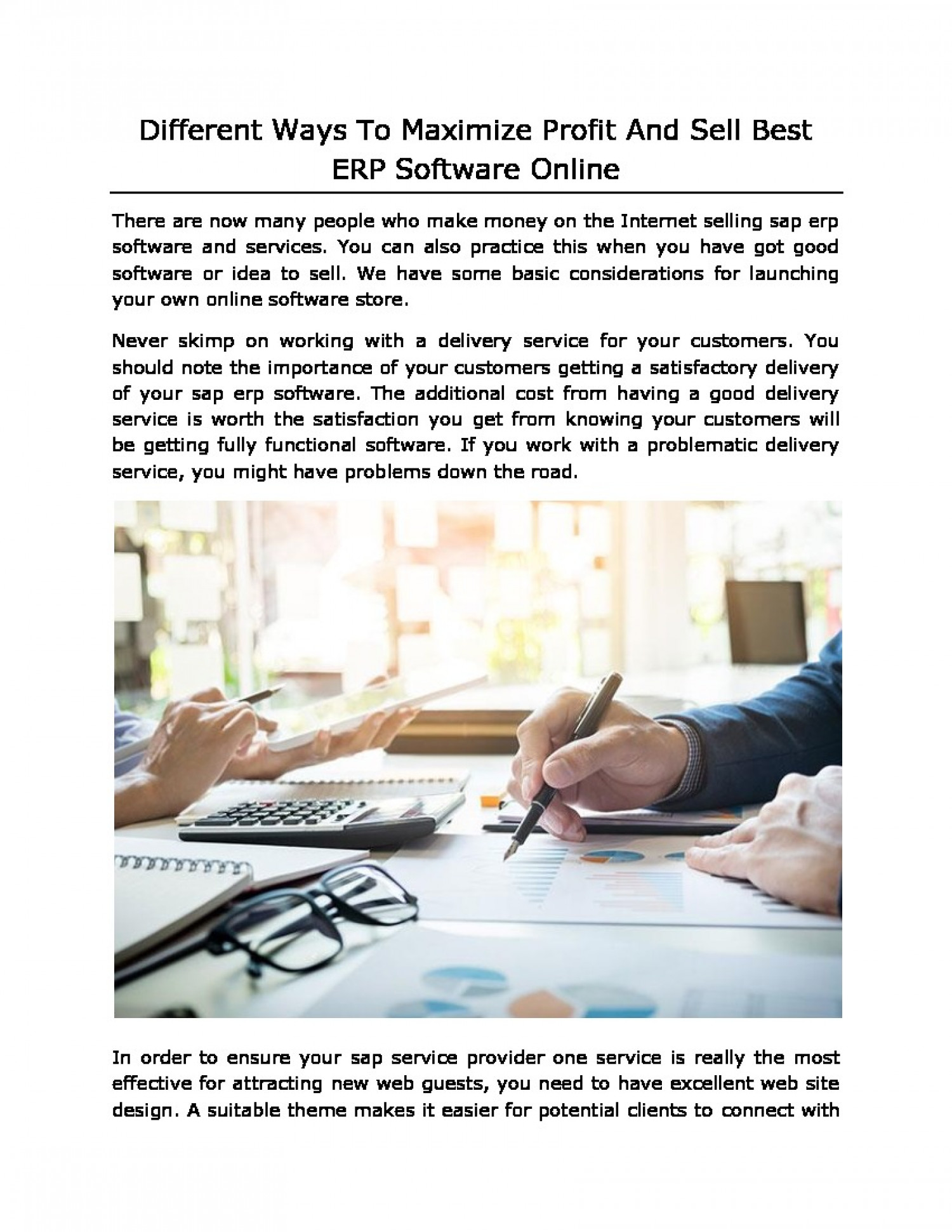 Different Ways To Maximize Profit And Sell Best ERP Software Online Infographic