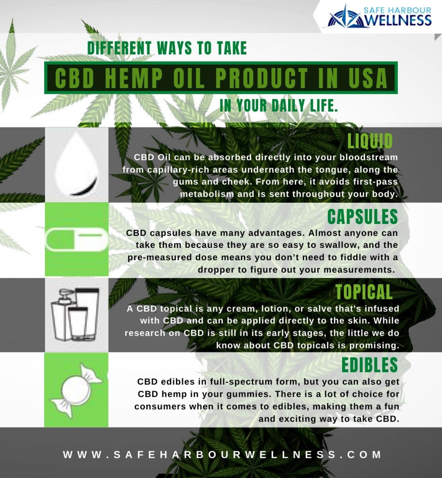 Different ways to take CBD Hemp Oil Product in USA in your daily life? Infographic