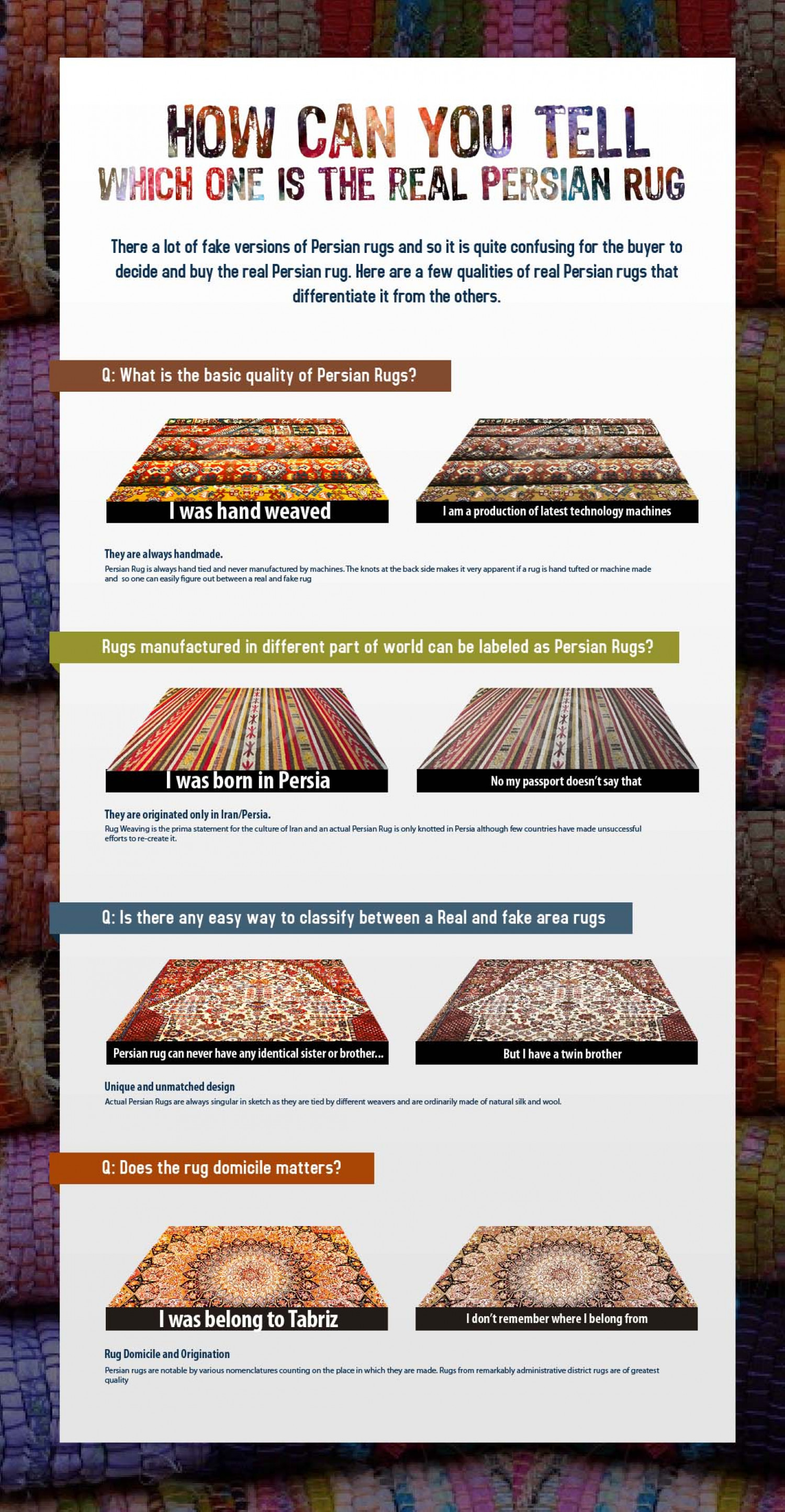 Diffeiate Between Real And Fake Persian Rug Infographic