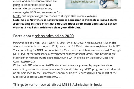 Direct Mbbs Admission Infographic