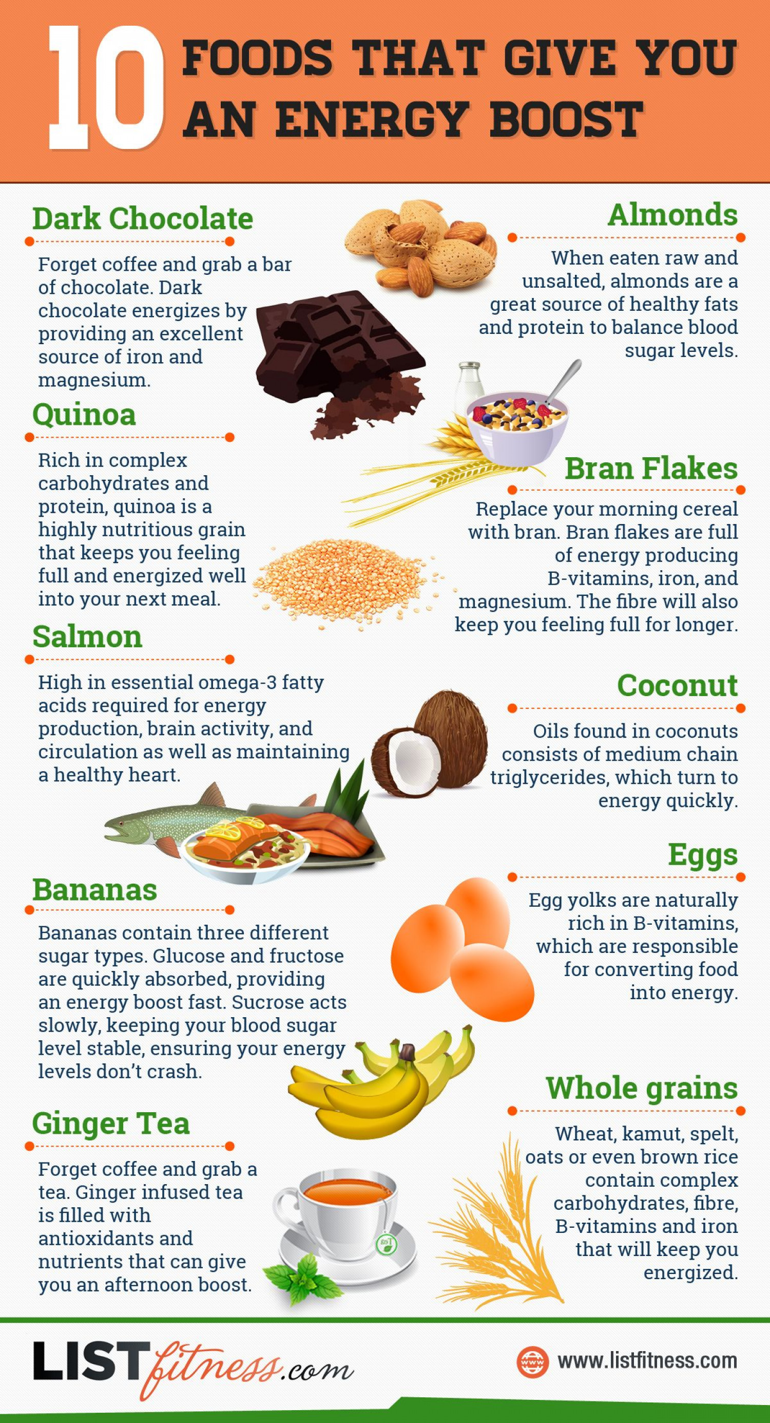Discover 10 Foods That Give You An Energy Boost Infographic