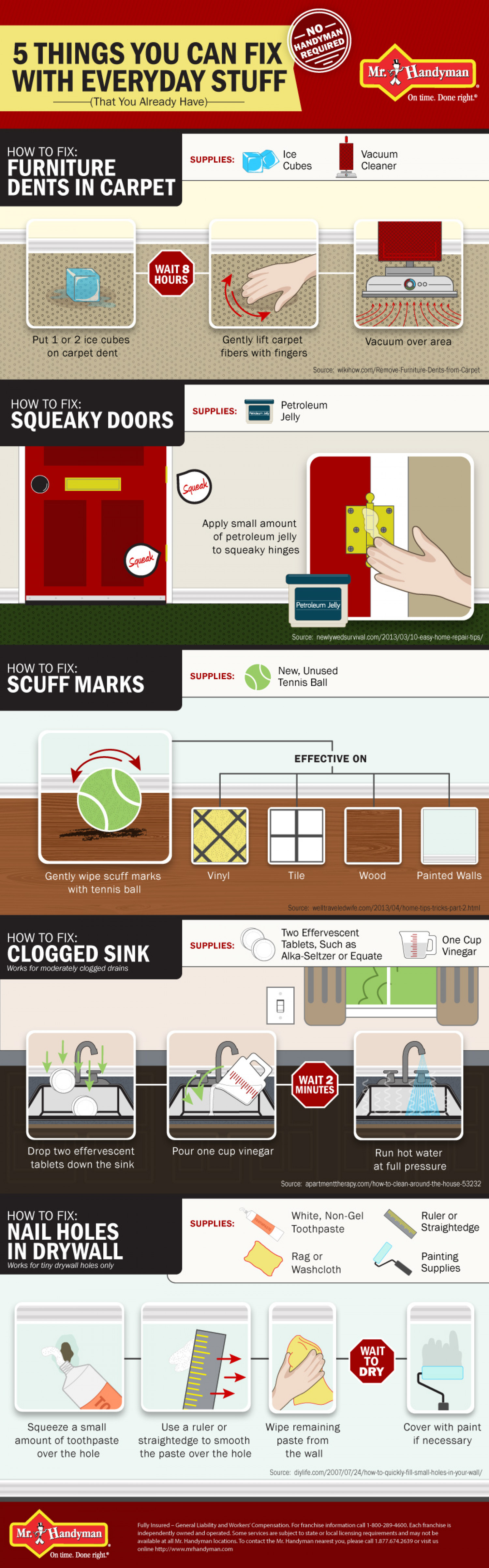 DIY Home Tips: 5 Things You Can Fix Without a Handyman - Mr. Handyman Infographic
