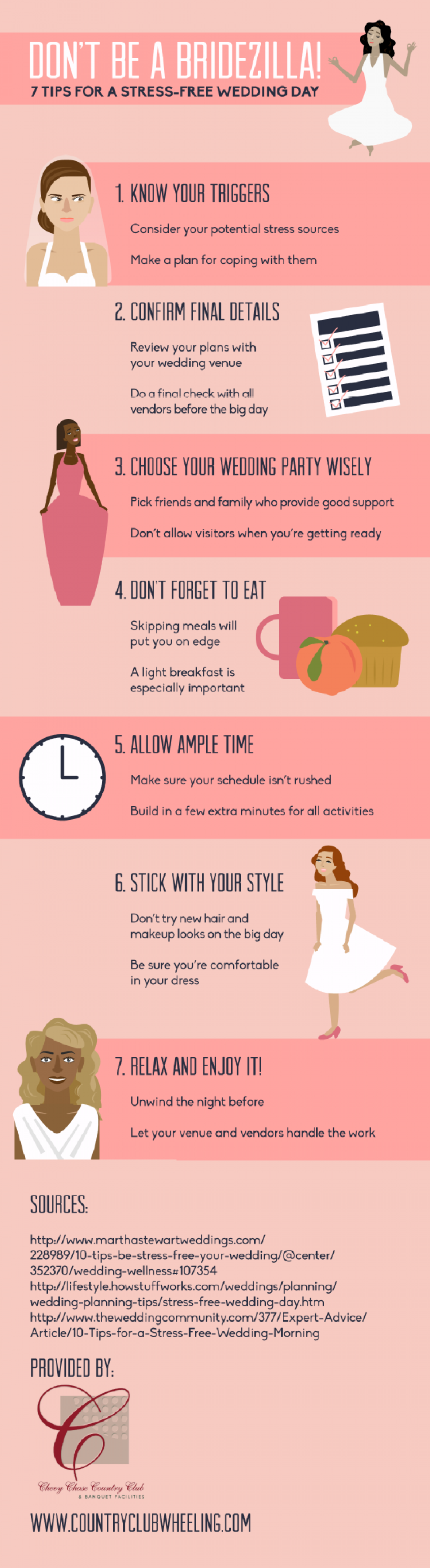 Don't Be a Bridezilla! 7 Tips for a Stress-Free Wedding Day Infographic