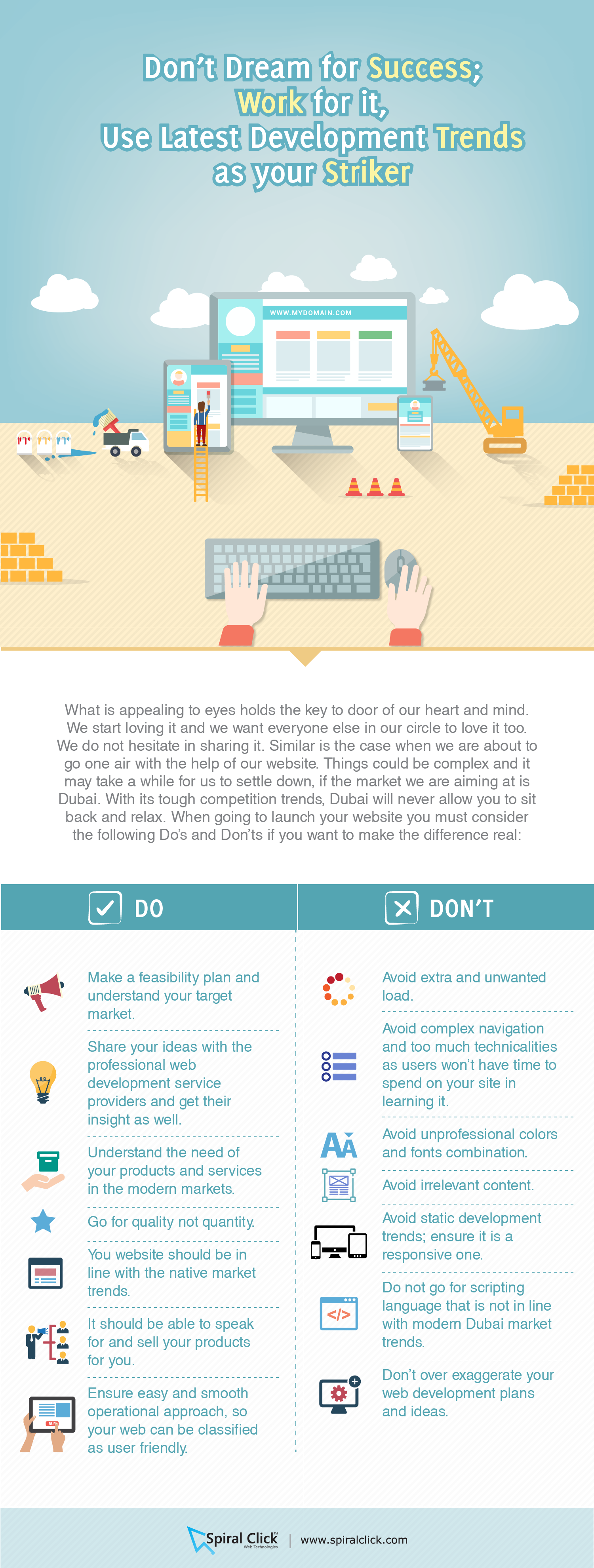 Don't Dream For Success; Work For It, Use Latest Web Development Trends as Your Striker Infographic