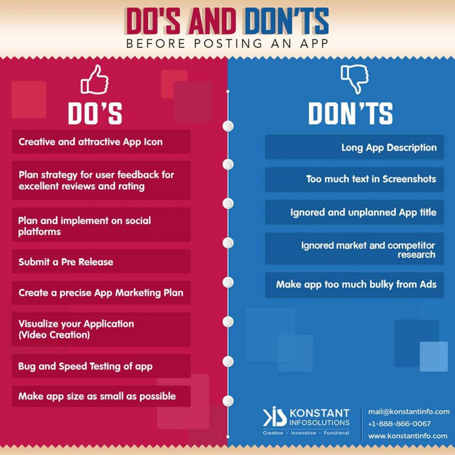 Do's and Don'ts Before Posting an App Infographic