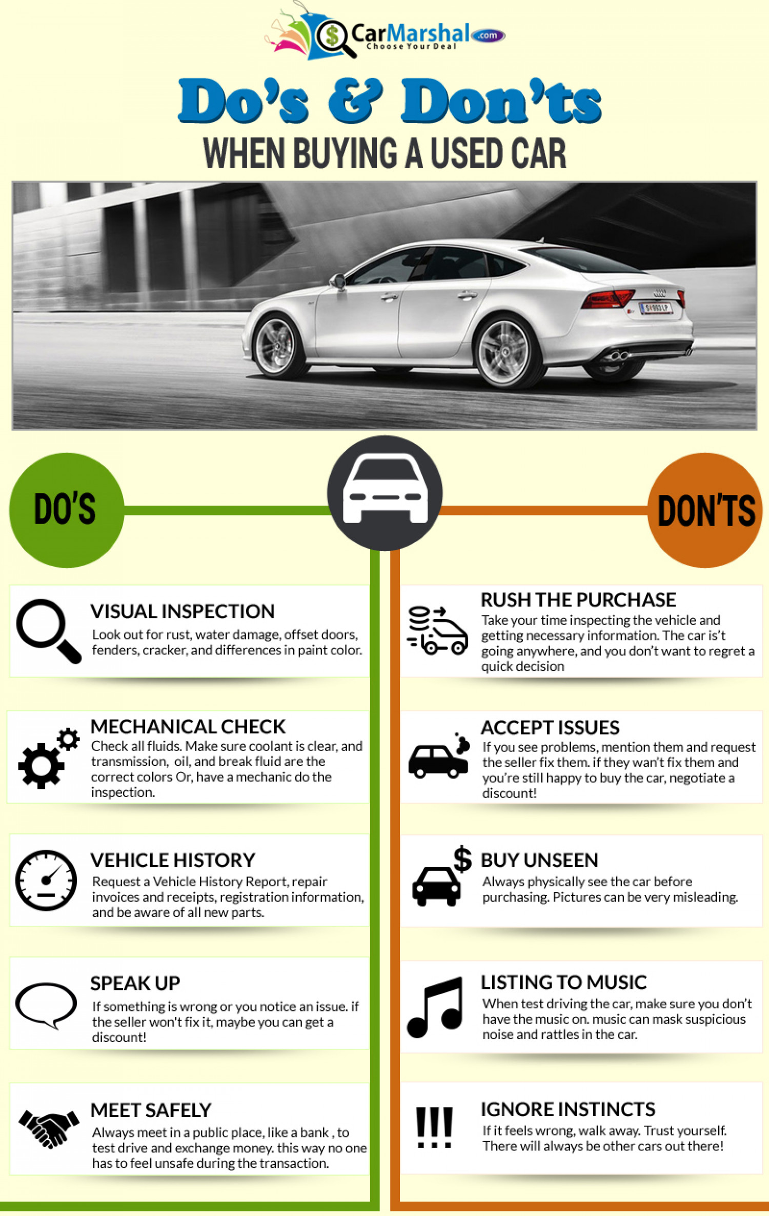 Dos and Don'ts When Buying a Used Car Infographic